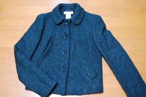 深い青緑のツイードっぽいジャケット