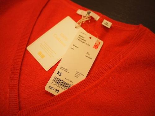 Uniqlo on 5th ave. で買ったカシミアセーター