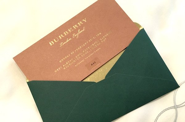 Burberry Show Invitation Card